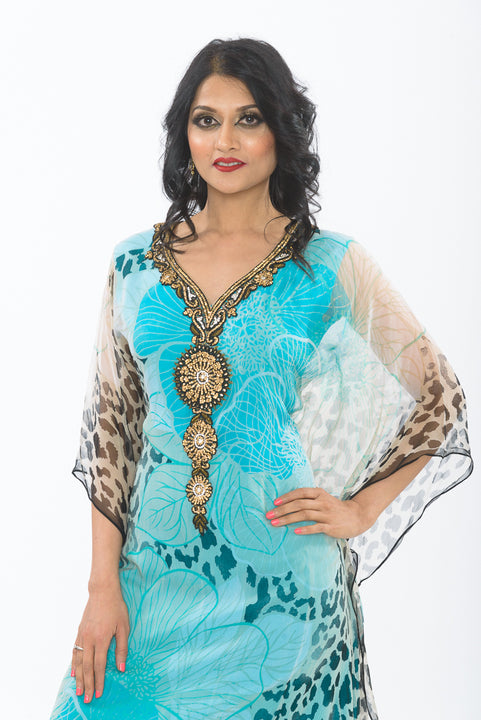 Aqua Blue Kaftan Long Kurti - Close up