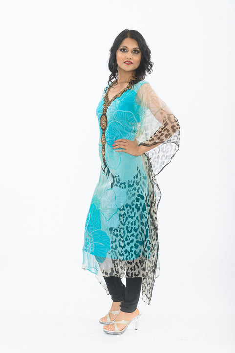Aqua Blue Kaftan Long Kurti - Side