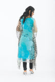 Aqua Blue Kaftan Long Kurti - Back