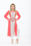 Pink and White Long Kurti with Churidar - Front