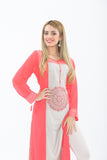 Pink and White Long Kurti with Leggings - Close up