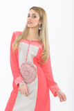 Pink and White Long Kurti with Churidar - Side/Front