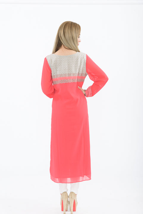 Pink and White Long Kurti with Churidar - Back