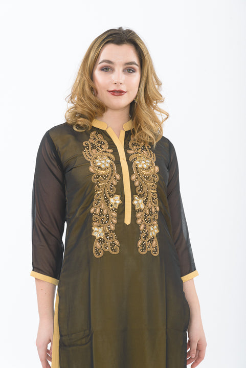 Black Long Kurti - Closeup