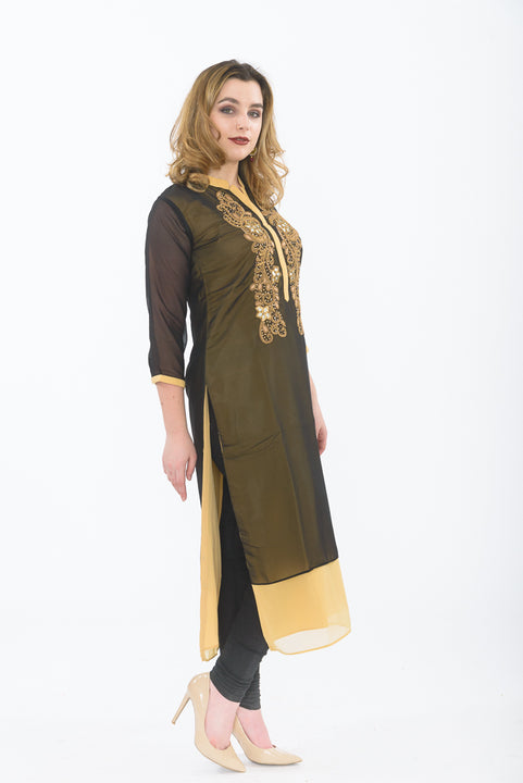 Black Long Kurti - Side