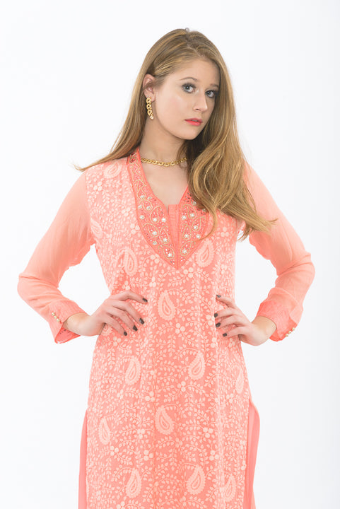 exquisite peach long kurti - close up