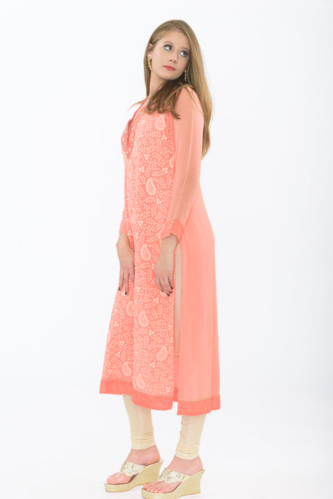 exquisite peach long kurti - side