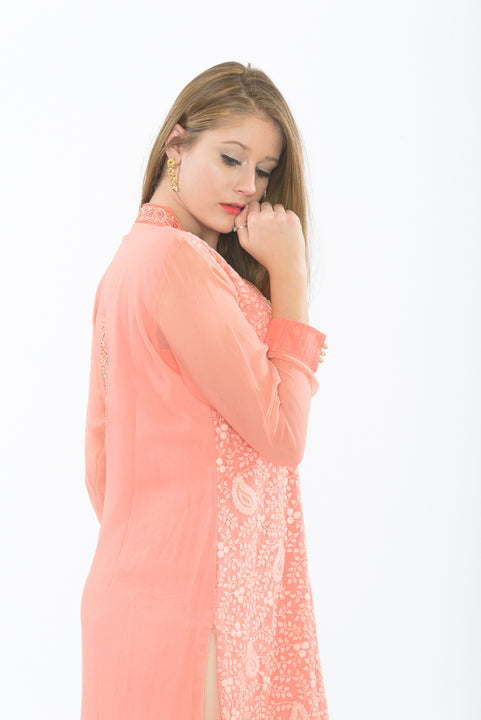 Delicate Peach Long Kurti with Leggings