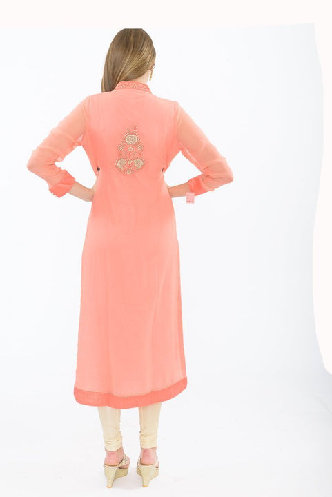exquisite peach long kurti - back