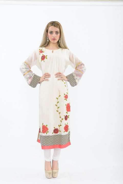 Off-white Floral Bloom Long Kurti with Churidar - Front