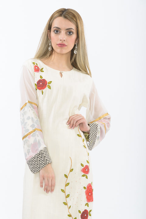 Off-white Floral Bloom Long Kurti - Closeup Front