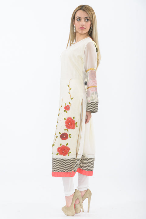 Off-white Floral Bloom Long Kurti - Side