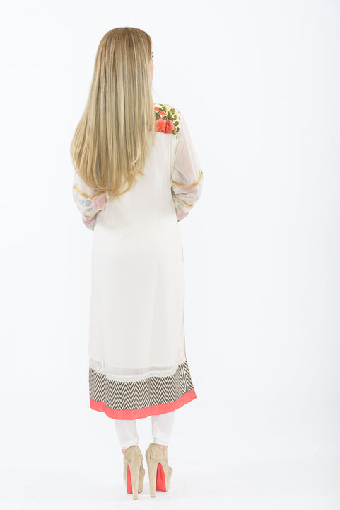 Off-white Floral Bloom Long Kurti - Back