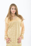 Designer Golden Long Kurti - Close up