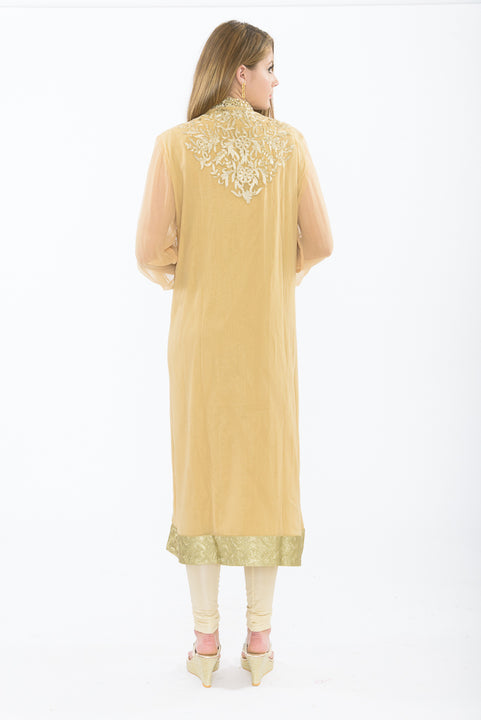 Designer Golden Long Kurti - Back