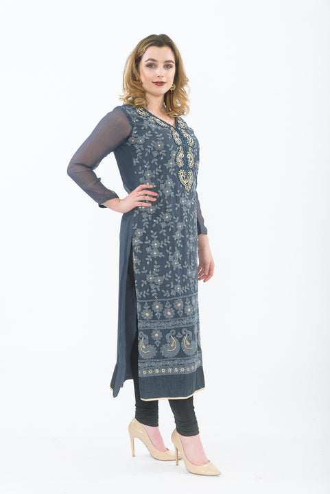 Dark Grey Designer Long Kurti - Side