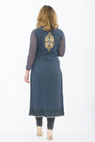Dark Grey Designer Long Kurti - Back