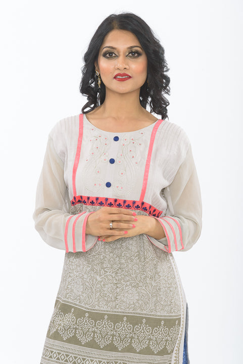 Exclusive Light Grey Long Kurti - Closeup