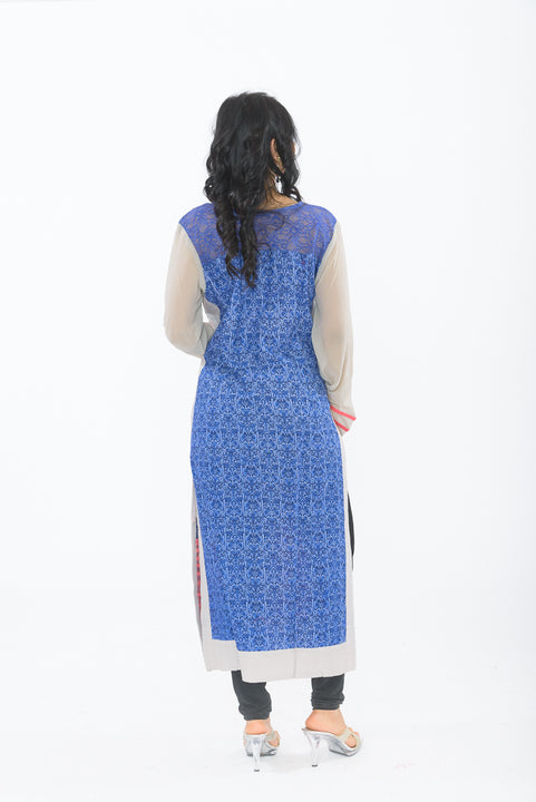 Exclusive Light Grey Long Kurti - Blue back