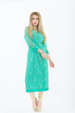Teal Long Kurti with Churidar - Front