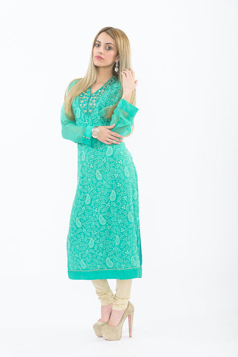 Teal Long Kurti with Churidar - Side