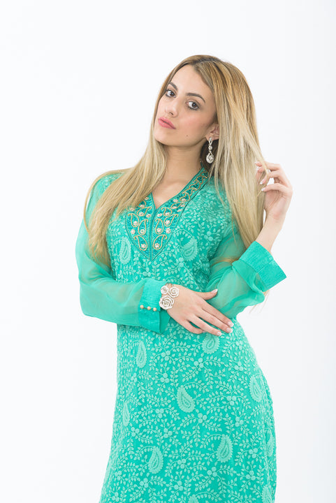 Teal Long Kurti with Churidar - Close up