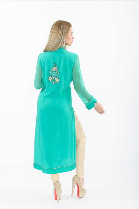Teal Long Kurti with Churidar - Back