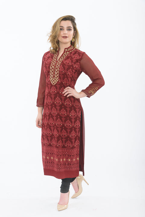 Deep Red Long Kurti with Leggings - Front