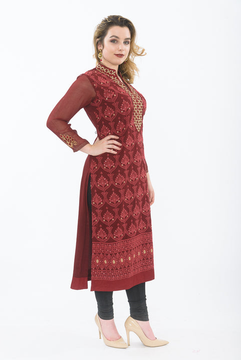 Deep Red Long Kurti with Leggings - Side