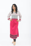 Grey and Hot Pink Long Kurti - Front