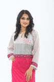 Grey and Hot Pink Long Kurti - Close up Half