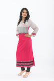 Grey and Hot Pink Long Kurti - Side Full View