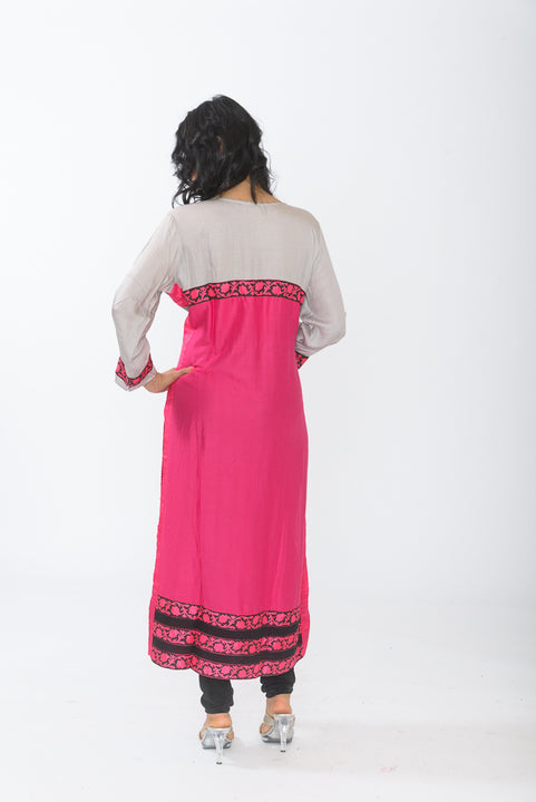 Grey and Hot Pink Long Kurti - Back
