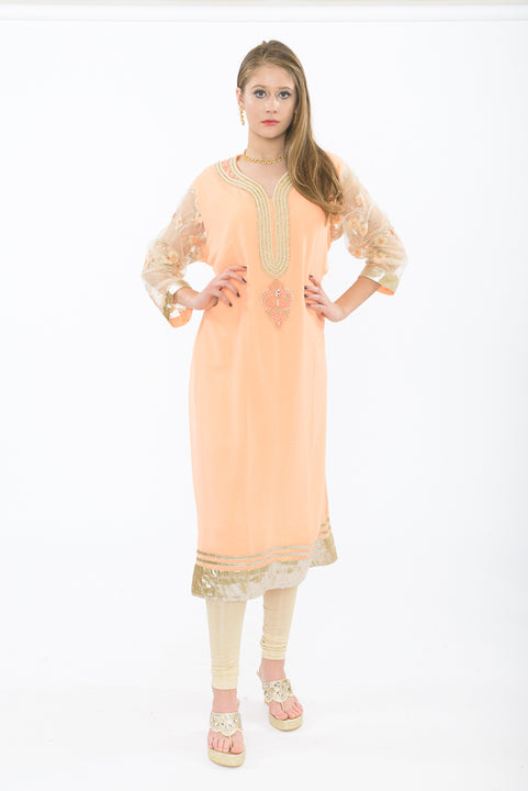 Light Peach and Gold Long Kurti - Front