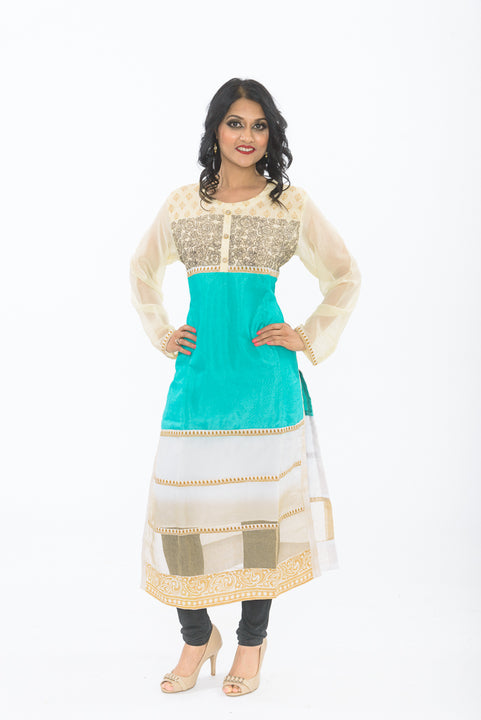 Off White and Turquoise Long Kurti - Front