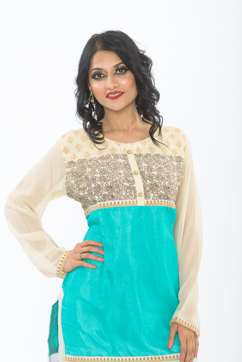 Off White and Turquoise Long Kurti - Close up