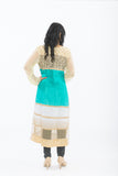 Off White and Turquoise Long Kurti - Back