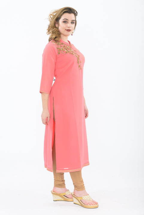 Peach & Gold Long Kurti with Leggings - Front