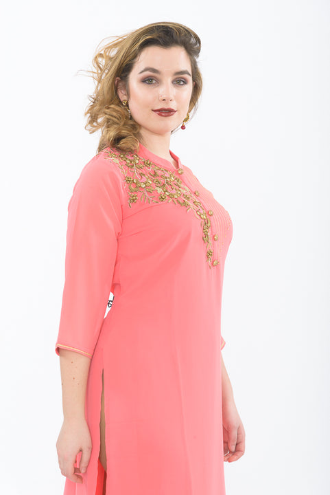 Peach & Gold Long Kurti with Leggings - Side