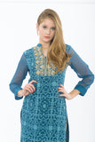 Dark Teal Blue Long Kurti - Close up