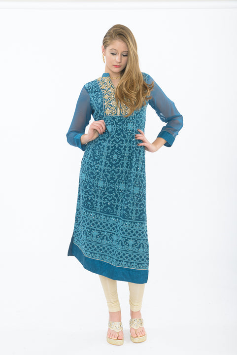 Dark Teal Blue Long Kurti - Front
