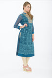 Dark Teal Blue Long Kurti - Side
