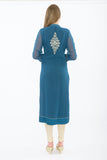Dark Teal Blue Long Kurti - Back