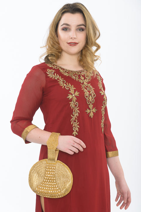 Gold and Maroon long kurti with gold leggings - close up