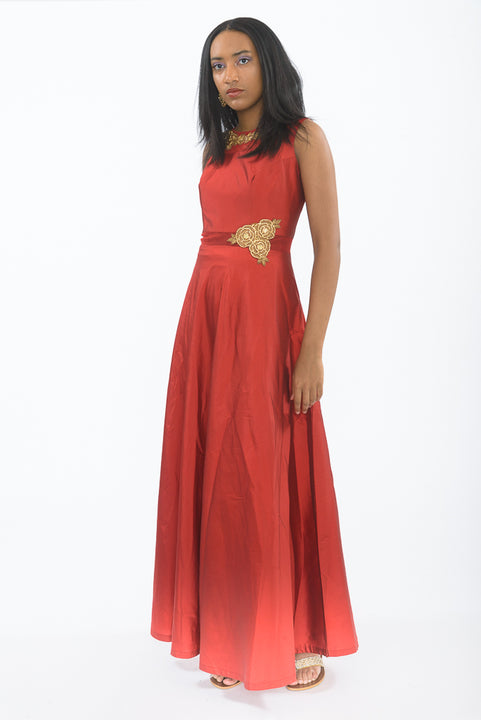 Classic Red Beauty Silk Indo-Western Anarkali Gown