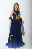 Space Blue Indo-Western Anarkali Gown