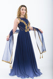 Space Blue Indo-Western Anarkali Gown - Side