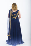 Blue Indo-Western Anarkali Gown - Back