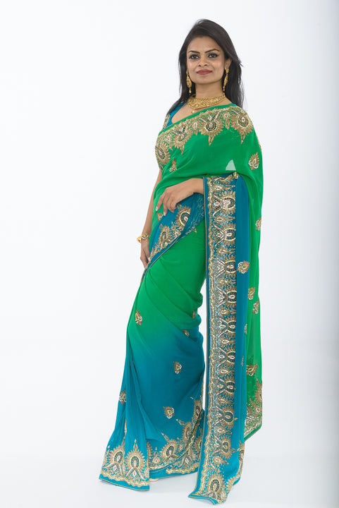 Divine Sage and Teal Ombre Sari