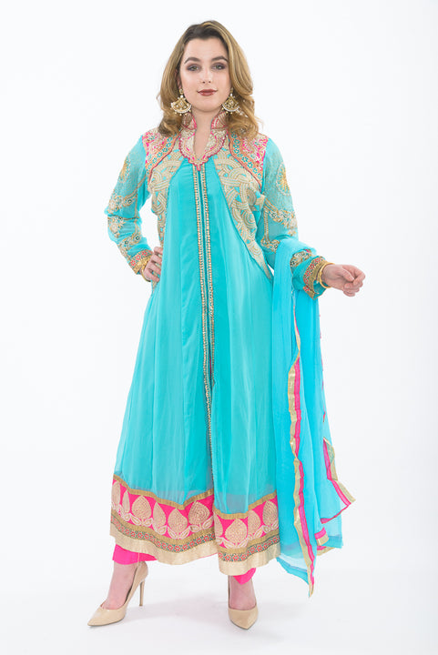 Tiffany Blue and Hot Pink Indo-Western Anarkali - Front with Stole